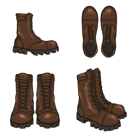 Set of Vector Cartoon Brown Army Boots. High Military Shoes. Variations of Views.