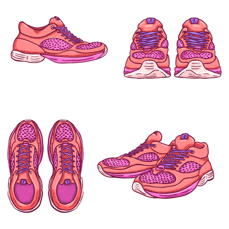 cross match: Vector Set of Cartoon Pink Running Shoes. Variations of View.