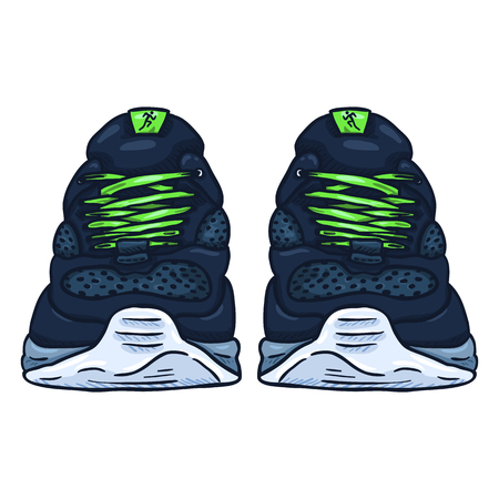 Vector Cartoon Blue Running Shoes. Front View.