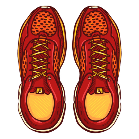 Vector Cartoon Red Running Shoes. Top View.