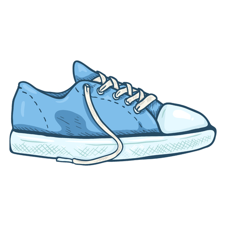 Vector Cartoon Illustration - Pair of Blue Casual Gumshoes. Side View. Illustration