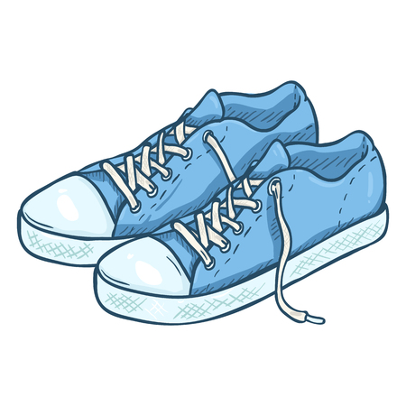 Vector Cartoon Illustration - Pair of Blue Casual Gumshoes