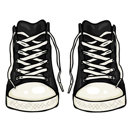Illustration de dessin animé de vecteur - paire de Gumshoes noir occasionnel élevé. Vue de face Vecteurs