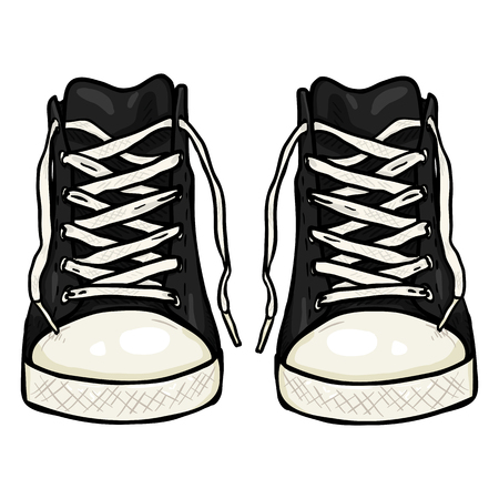 Vector Cartoon Illustration - Pair of High Casual Black Gumshoes. Front View