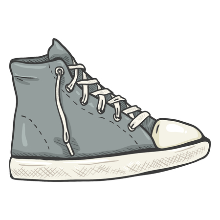 Vector Cartoon Illustration - High Casual Gray Gumshoes. Side View