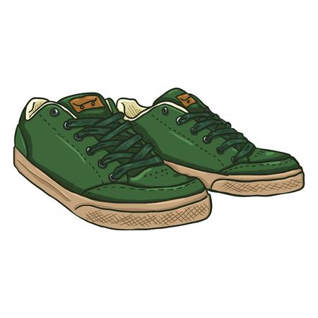 Vector Cartoon Illustration - Pair of Green Skaters Shoes Illustration
