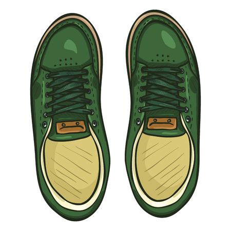 Vector Cartoon Illustration - Pair of Green Skaters Shoes. Top View