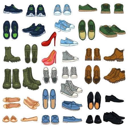 Vector Big Set of 37 illustrations - Cartoon Color Shoe Items.