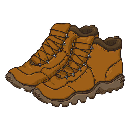 Vector Cartoon Illustration - Pair of Brown Extreme Hiking Boots.