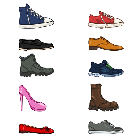 Vector Set of Cartoon Color Shoes Items. Side View Collection Vetores