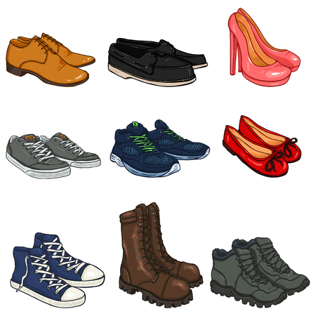 Vector Set of Cartoon Color Shoes Items on White Background.