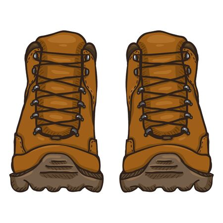 Vector Cartoon Illustration - Brown Extreme Hiking Boots. Front View