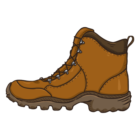 Vector Cartoon Illustration - Brown Extreme Hiking Boots. Side View.