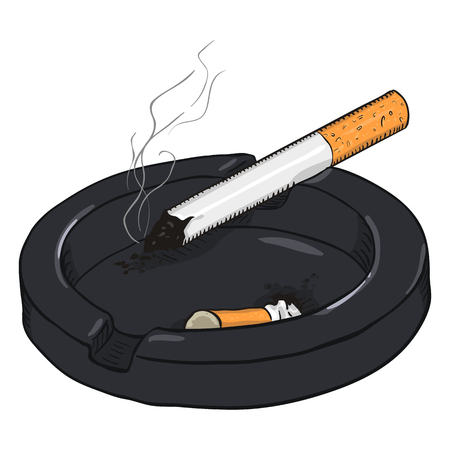 Vector Cartoon Illustration. Ashtray with a Smoking Cigarette and a Cigarette Butt
