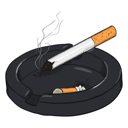 Vektor-Cartoon-Illustration. Aschenbecher mit einer rauchenden Zigarette und einem Zigarettenstummel Standard-Bild - 80567391