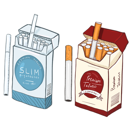 Vector Cartoon Blue Slim and Red Regular Cigarette Boxes