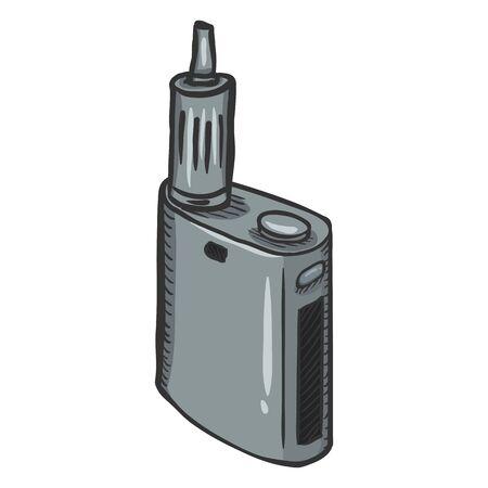 Cigarrillos electrónicos de plata uniformes de dibujos animados Vector. Equipo de Vape. Foto de archivo - 80568768