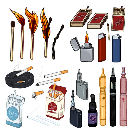 Vector Cartoon Set of Smoking and Vaping Items. Cigarettes, Matches, Lighters and Vapes.