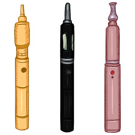 Vector Cartoon Set of Three Electronic Cigarettes. Vape Equipment.