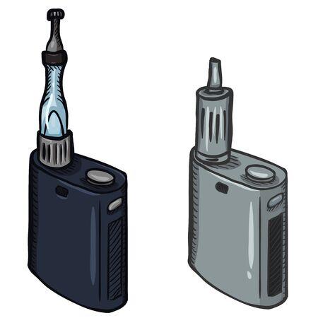 Conjunto de dibujos animados de vector de dos cigarrillos electrónicos. Equipo de Vape. Foto de archivo - 80570145