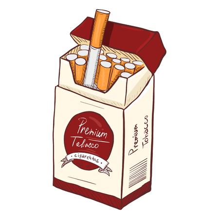 Vector Cartoon Red and White Box of Cigarettes. Premium Tobacco.