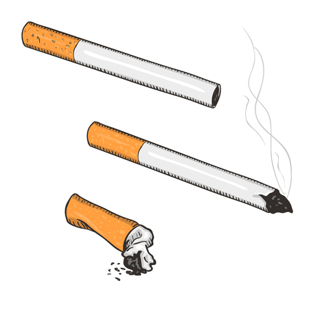 Vector Cartoon Set of Cigarettes with Filter on White Background