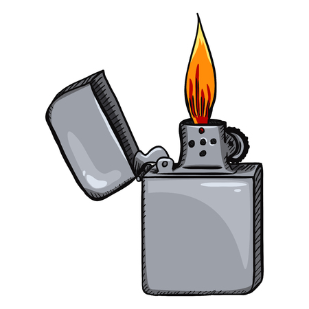 Vector Cartoon Retro Lighter with Flame on White Background