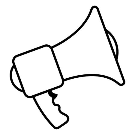 Vector Single Outline Icon - Bullhorn on White Background
