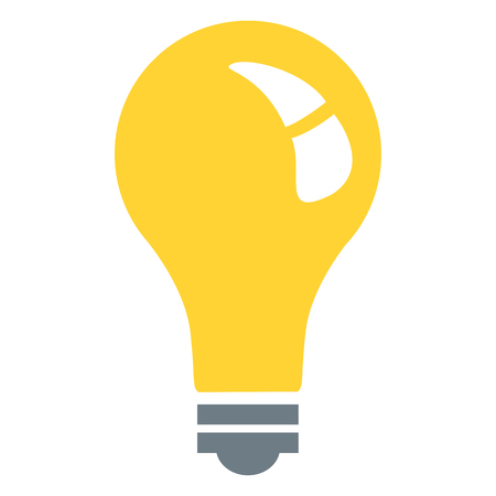 Vector Single Color Flat Icon - Yellow Lightbulb