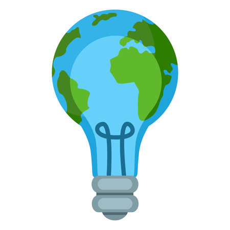 Vector Single Color Ecology Icon - Globe in LightBulb.