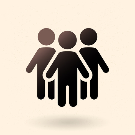 Vector Black Silhouette Icon - Group of People