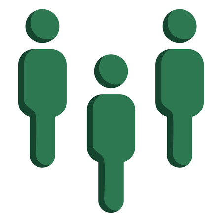 Vector Green Social Icon - Group of People. Teamwork. Illustration