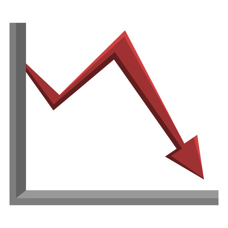 Vector Single Analitic Icon - Graph. Red Arrow Go Down