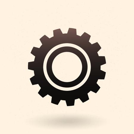 machinery: Vector Single Black Icon - Mechanical Gear. Cogwheel Sign.