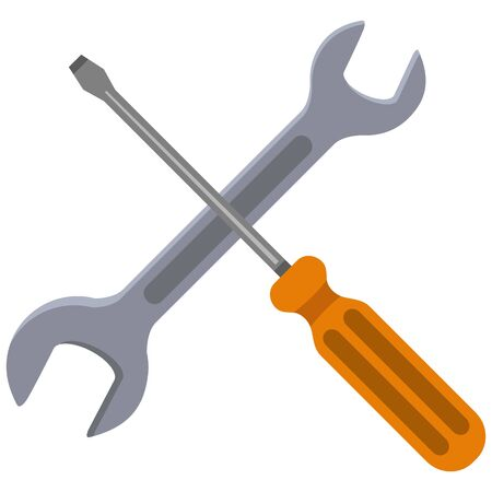 Vector Color Flat Icon - Setting and Options Symbol. Crossed Wrench and Screwdriver Illustration