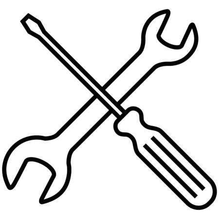 Vector Black Outline Icon - Setting and Options Symbol. Crossed Wrench and Screwdriver