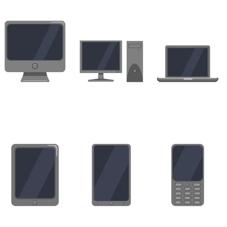lcd display: Set of Color Device Icons. Personal Computer, Monitor, Laptop, Tablet PC, Smartphone and Cellphone