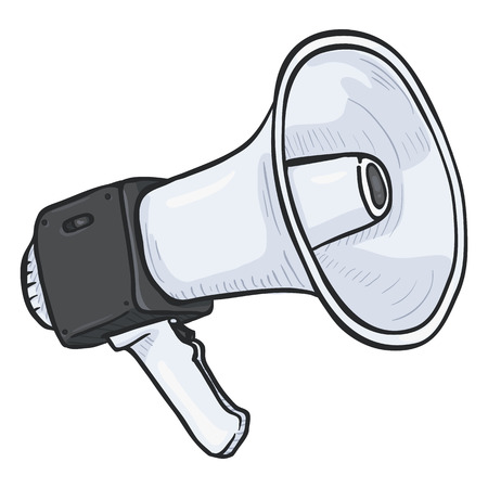 speaking trumpet: Vector Single Cartoon Illustration - Loudspeaker on Isolated White Background. Color Megaphone Icon
