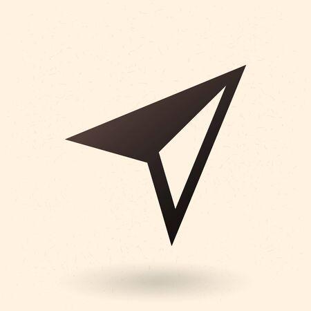 Vector icono negro - flecha de compás. Cursor del mapa Ilustración de vector