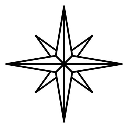 compass rose: Vector Single Line Icon - Classic Wind Rose