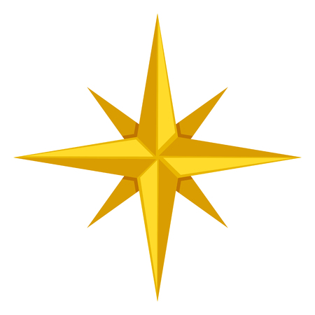 Vector Single Gold Icon - Classic Wind Rose Illustration