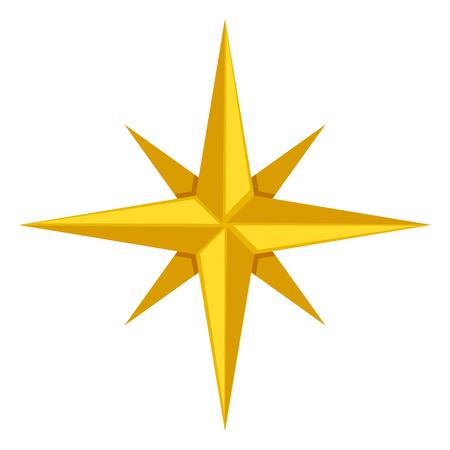 Vector Single Gold Icon - Classic Wind Rose Stock Illustratie