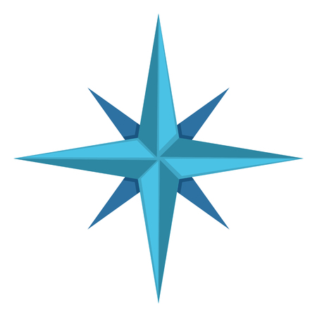 compass rose: Vector Single Blue Icon - Classic Wind Rose