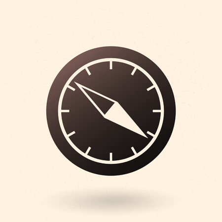 Vector Single Black Silhouette Geographic Compass Icon