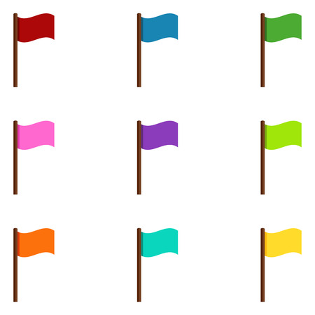 Vector Set of Color Waving Flags Icons Stok Fotoğraf - 84201199
