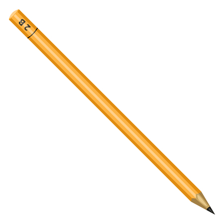 Vector Flat Yellow Drawing Pencil on White Background