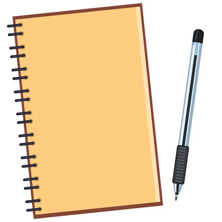 Vector Color Flat Illustration - Open Blank Notepad with Black Ball-point Pen