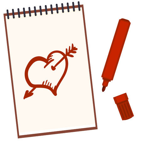 Vector Open Notebook With Red Felt-tip Pen and Sketch Drawings: Heart and Arrow
