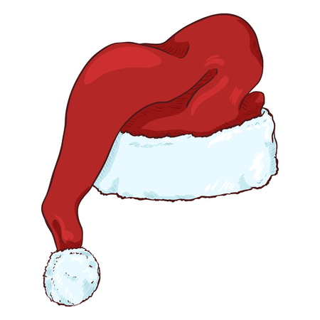 backview: Vector Cartoon Red Santa Claus Hat. Christmas Decoration. Illustration