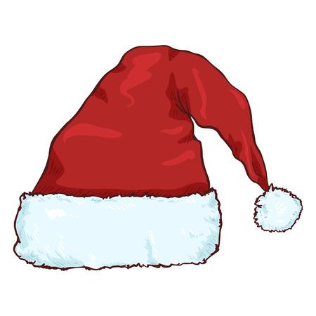 벡터 만화 빨간 산타 클로스 모자입니다. 크리스마스 장식.